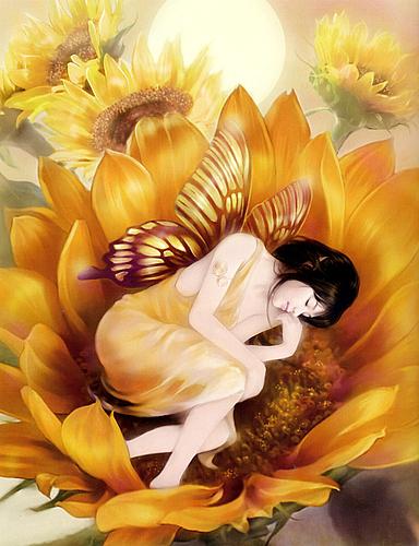 belle-elfes-endormie-tournesol-flora