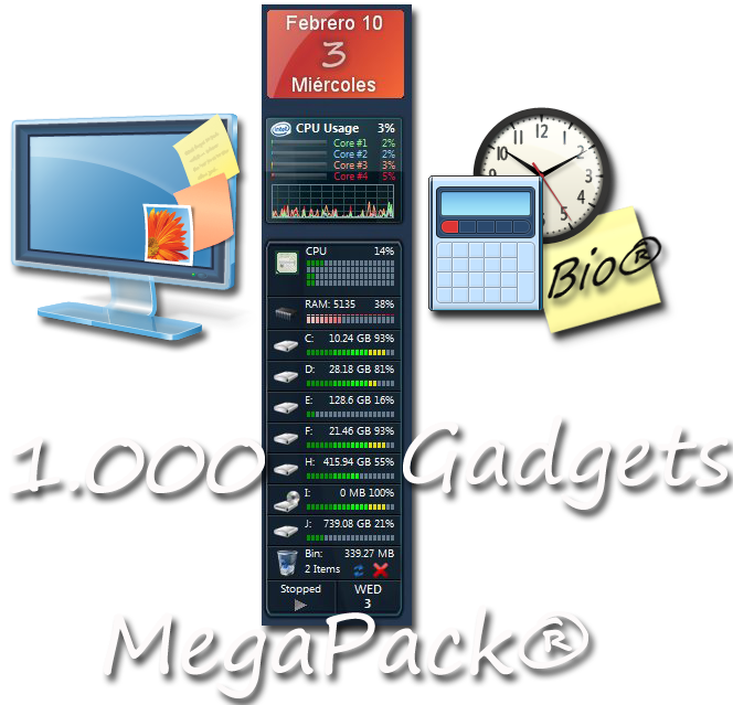 1000 Gadgets Mega Pack para Windows 7 y Windows Vista UmbrellaMOD.CoM